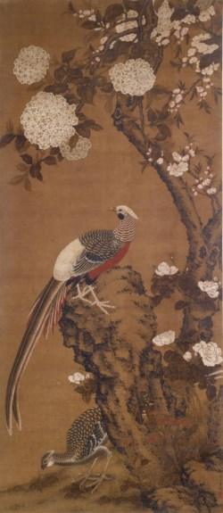 WALTERS: T'ung Tseng: Pheasants, Rock, Tree Peonies, and Hydrangeas 1788