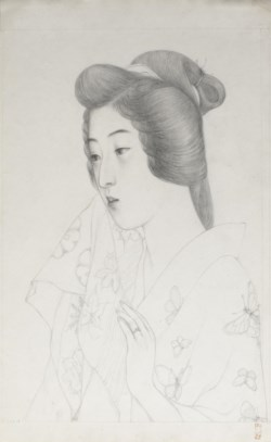 WALTERS: Hashiguchi Goyo (Japanese, 1st quarter 20th century): 手拭持てる女 (Sketch of Woman Holding a Towel) 1920