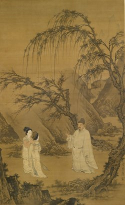 WALTERS: Du Jin (Chinese, active 1465-1509) (?): Wang Xianzhi [Wang Hsien-Chih] and Two Wives Among Willows and Rocks 1500