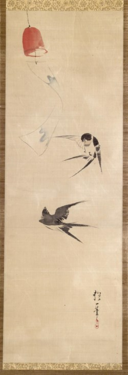 WALTERS: Sakai Hoitsu (Japanese, 1761-1828): Two Swallows and Wind Bell 1780