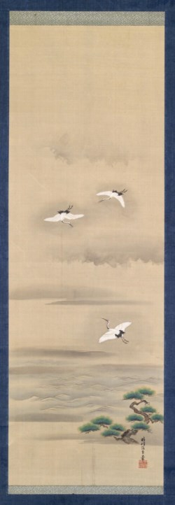 WALTERS: Japanese: Three Cranes Flying in a Misty Landscape 1801