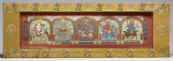 WALTERS: Chinese: Manuscript Cover with Lhamo Flanked by Four Goddesses 1701