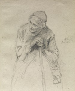 WALTERS: Ludwig Knaus (German, 1829-1910): Old Woman Leaning on a Stick 1860