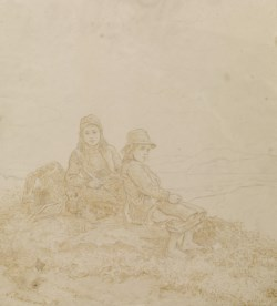 WALTERS: Adolph Tidemand (Norwegian, 1814-1876): Two Girls Resting on Mountain 1859