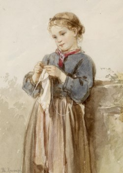 WALTERS: Philipp Rumpf (German, 1821-1896): Girl Knitting 1848