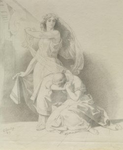 WALTERS: Emanuel Leutze (German, 1816-1868): Woman Weeping at the Feet of Another 1859