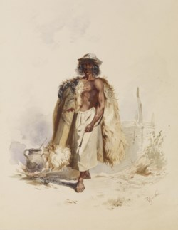 WALTERS: Joseph Heicke (Austrian, 1811 - 1861): Peasant with Fur Coat Beside Fire 1838