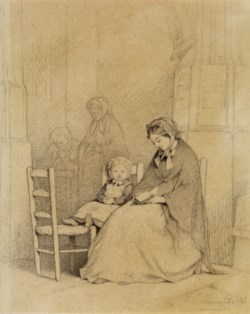 WALTERS: Jules Marc Chamerlat (French, 1828-1868): Mother and Child in Church 1863