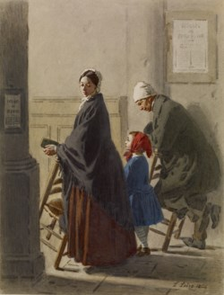 WALTERS: Léon Henri Antoine Loire (French, 1821-1898): Man, Woman, and Girl at Prayer in Church 1864