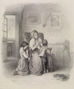 WALTERS: Paul Seignac (French, 1826-1904): Interior with Woman Teaching Two Children 1861