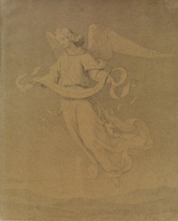 WALTERS: Heinrich Mucke (German, 1806-1891): Christmas Angel Bearing Scroll 1806