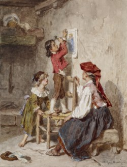 WALTERS: Alexandre-Marie Guillemin (French, 1817-1880): Interior with Italian Woman and Children None