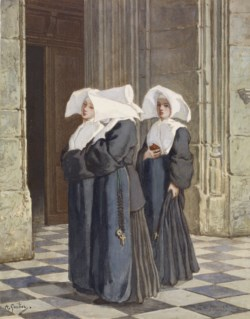 WALTERS: Armand Gautier (French, 1825-1894): Three Nuns in the Portal of a Church 1825