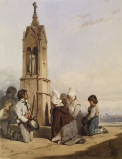 WALTERS: Charles Ramelet (French, 1805-1851): Peasants Kneeling Before Shrine 1828
