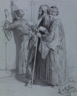 WALTERS: Alexandre Bida (French, 1823-1895): Four Jews at the Wailing Wall 1838