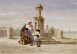 WALTERS: Jules-Jacques Veyrasset (French, 1828-1893): Woman and Child Kneeling Before a Cross 1853