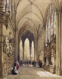 WALTERS: Émile-Antoine-François Herson (French, 1805-1873): Interior of a Gothic Church 1864