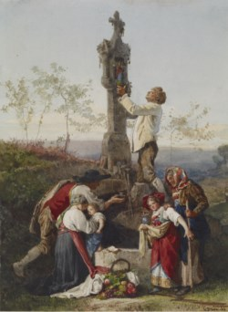 WALTERS: Gustave Brion (French, 1824-1877): Peasants Decorating Wayside Shrine 1864