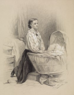 WALTERS: Léon-Emile Caille (French, 1836-1907): Young Woman Praying Beside Baby's Cradle 1864