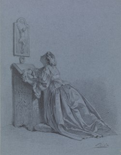 WALTERS: Alexandre Bida (French, 1823-1895): Interior: Woman Kneeling at Prie-dieu 1865