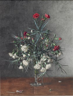 WALTERS: Léon Bonvin (French, 1834-1866): Vase of Red and White Carnations 1863