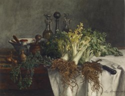 WALTERS: Léon Bonvin (French, 1834-1866): Still Life on Kitchen Table with Celery, Parsley, Bowl, and Cruets 1865