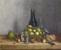 WALTERS: Léon Bonvin (French, 1834-1866): Still Life: Basket of Apples, Pear, Walnuts and Knife 1863