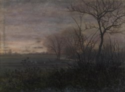 WALTERS: Léon Bonvin (French, 1834-1866): Plowing at Dusk 1865