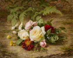 WALTERS: Simon Saint-Jean (French, 1808-1860): Still Life with Flowers 1852