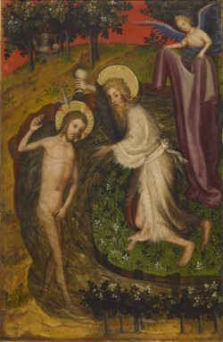 WALTERS: Netherlandish: Two Panels depicting the Annunciation, Baptism of Christ and Crucifixion from the Antwerp-Baltimore Quadriptych 1388