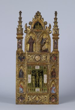 WALTERS: Tommaso da Modena (Italian, 1325/9-before 1379): Wing of a Reliquary Diptych with the Crucifixion and Saints 1343