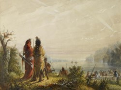 WALTERS: Alfred Jacob Miller (American, 1810-1874): Indians Threatening to Attack Fur Boats 1858