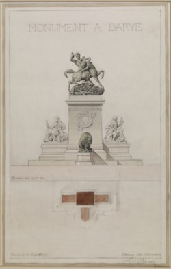 WALTERS: Stanislas Louis Bernier (French, 1845-1919): Project for a Monument to Barye 1879
