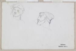 WALTERS: Antoine-Louis Barye (French, 1795-1875): Two Sketches of Heads 1800