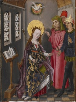 WALTERS: Flemish: Part of an Altarpiece with Three Scenes from the Life of Saint Catherine 1468