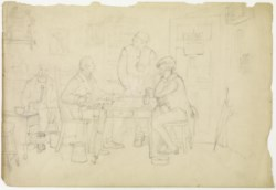WALTERS: Richard Caton Woodville (American, 1825-1855): The Card Players (recto) / Classical Scene (verso) 1800