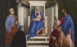 WALTERS: Giovanni Bellini (Italian, born 1431-1436, died 1516): Madonna and Child with Saints Peter and Mark and Three Venetian Procurators 1510