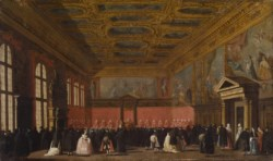 WALTERS: Follower of Canaletto (Italian, 1697-1768): Reception of Foreign Ambassadors in the Doge's Palace, Venice 1753