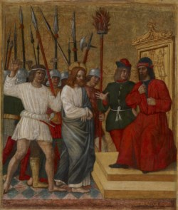 WALTERS: Attributed to Antonio della Corna (Italian, active 1469-1491): Christ Before Caiaphas 1470