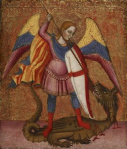 WALTERS: Master of Saint Verdiana (Italian, active ca. 1380-ca. 1420): Archangel Michael Slaying the Dragon 1380
