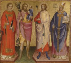 WALTERS: Mariotto di Nardo (Italian, active 1394-1431): Saints Lawrence, Christopher, Sebastian, and a Bishop Saint 1420