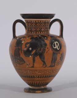 WALTERS: Antimenes Painter (Greek, active ca. 520-510 BC) (?): Black-figure Amphora with Ajax Carrying the Dead Achilles -530