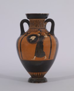 WALTERS: Vatican G 23 Group (Greek, ca. 500-480 BC) (?): Black-figure Pseudo-Panathenaic Amphora with Discus Thrower -512