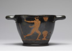 "WALTERS: Group of Ferrara T.981 (Greek, active ca. 480-ca. 450 BC) (?): Red-Figure ""Skyphos"" with Dancer and ""Komast"" -487"
