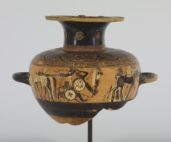 WALTERS: Greek: Hydria with the Fight of Achilles and Memnon -587