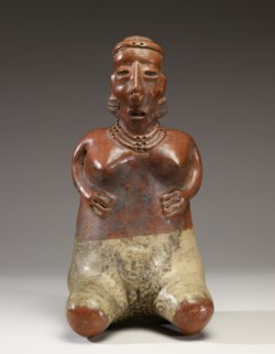 WALTERS: Nayarit: Kneeling Female Figure with Hands on Abdomen -300
