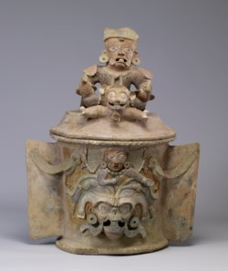 WALTERS: Maya: Maya Polychrome Lidded Urn with Seated Figure 600