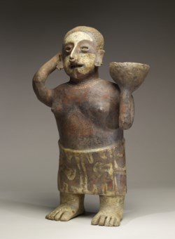 WALTERS: Nayarit: Polychrome Standing Female with Bowl on Shoulder -300