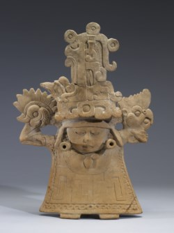 WALTERS: Remojadas: Standing Female Figure with Tall Headdress and Ankle-length Dress 600