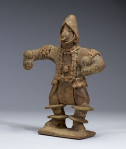 WALTERS: Colima: Standing Figure with Elaborate Costume Holding Rattles -300